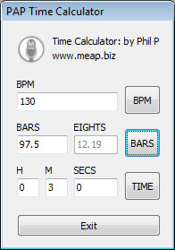 Bars/Time Calculator
